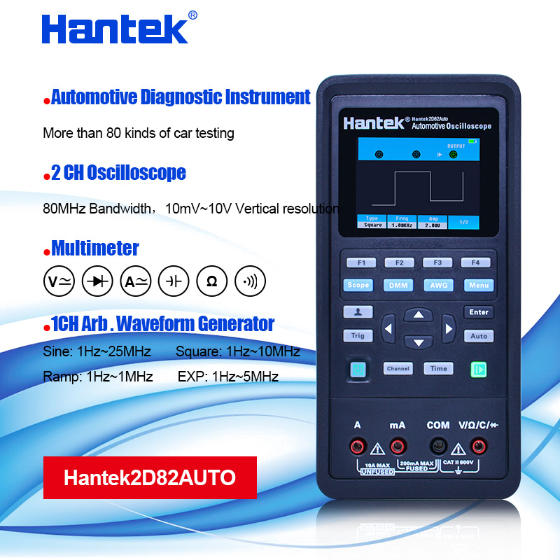 Hantek Handheld 2D82 Auto Digital Oscilloscope Multimeter 4 in1 2 Channels 80MHz Signal Source Automotive Diagnostic 250MSa/s