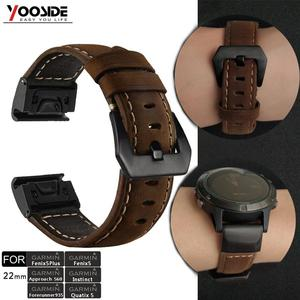 Image 1 - YOOSIDE Fenix 6 Wristband 22mm Quick Fit Genuine Leather Watch Band Strap for Garmin Fenix 5/5 Plus/Forerunner 935/Instinct