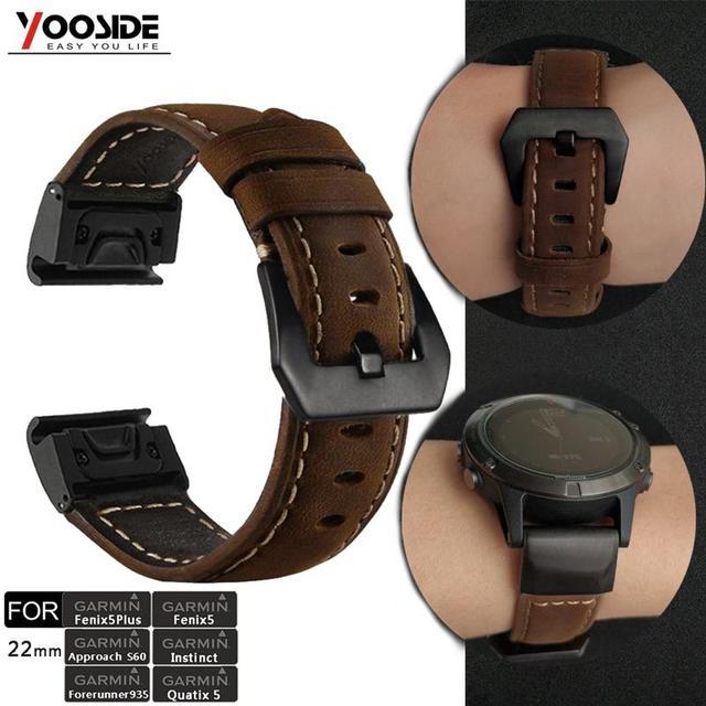 YOOSIDE Fenix 6 Wristband 22mm Quick Fit Genuine Leather Watch Band Strap for Garmin Fenix 5/5 Plus/Forerunner 935/Instinct
