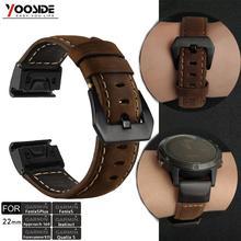 YOOSIDE – bracelet de montre Fenix 6X/ Fenix 6, en cuir véritable, 22mm/26mm, pour Garmin Fenix 5/5 Plus/Instinct