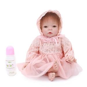 Image 1 - Reborn Baby Poppen 22 Inch Prinsesje Silicone Baby Realistische Pop Kid Speelgoed Roze Jurk Levensechte 55Cm Bebe Reborn pasgeboren Pop