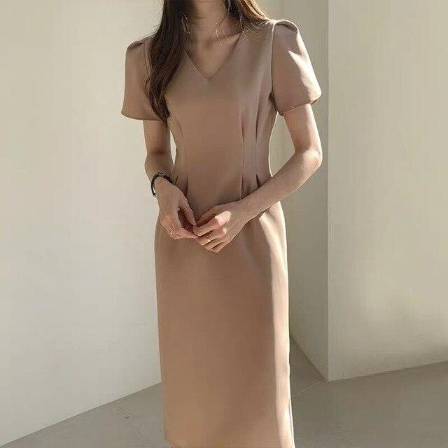 2020 New Female Summer Dress Korean Office Elegance Cotton Long Dress Women Slim Waist V-Neck Dress