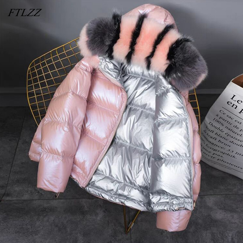 FTLZZ Winter Jacket White Duck Down Parkas Women Gold Silver Double Side Coat Big Aritificial Fur Hooded Female Down Oversize