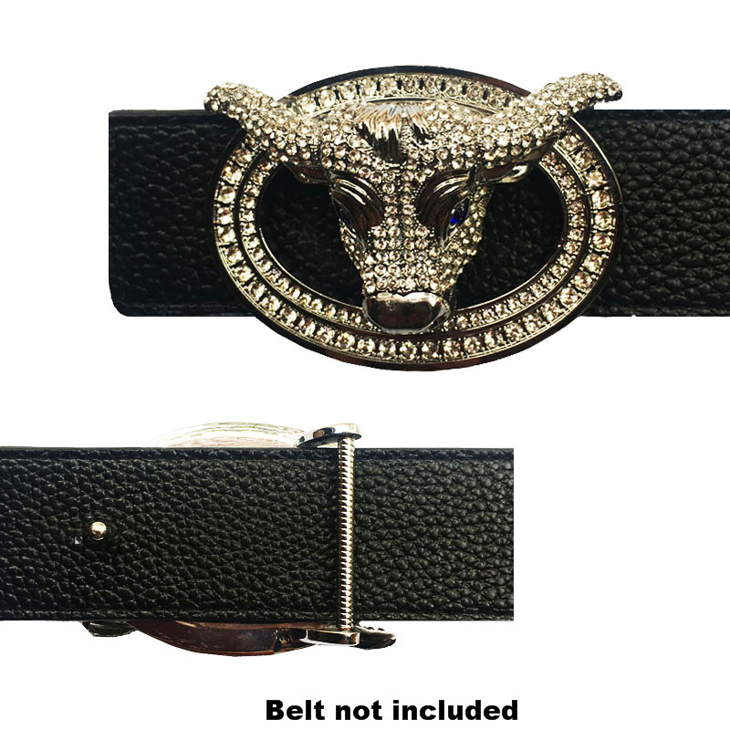 Vintage Gold&Sliver Minotaus Head Icon Accessories Belt Buckles For Men Heavey Hard Metal Solid Brass Leather Championship Belt