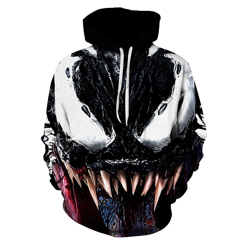 2019New USCosplay Hoodies For Movie Venom Deadpool Men Women 3D Spider-Man Coat Sweatshirts Casual Jacket Costume