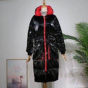Image 5 - FTLZZ 새 겨울 자켓 여성 화이트 오리 파커 스 여성 스탠드 칼라 Thicken Warm Coat 실버 블랙 스노우 다운 아웃웨어