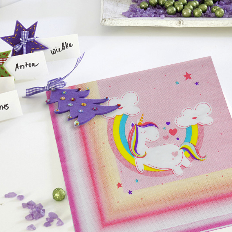 Unicorn Theme Children GIRL'S Birthday Party Decorative Restaurant Printed Napkin Paper Towel 20