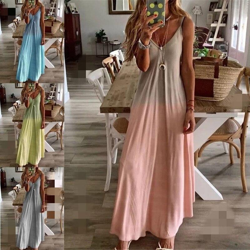 Women Summer V Neck Print Long Dress Sexy Spaghetti Strap Sleeveless Dress Plus Size Boho Beach Casual A Line Dresses Plus Size