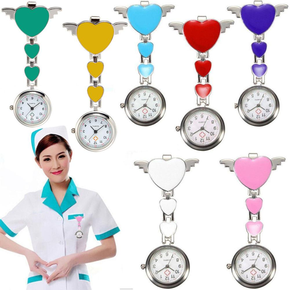 Women Love Heart-Wings Quartz Pocket Watch Clip Brooch Fob Watch Nurse Doctors Medical Hanging Pocket Watch Reloj De Bolsillo