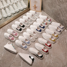 NZ0802 spring and autumn hot white shoes, thick-soled casual sports shoes, unisex sneakers, women's slope heel McQueen OFF White