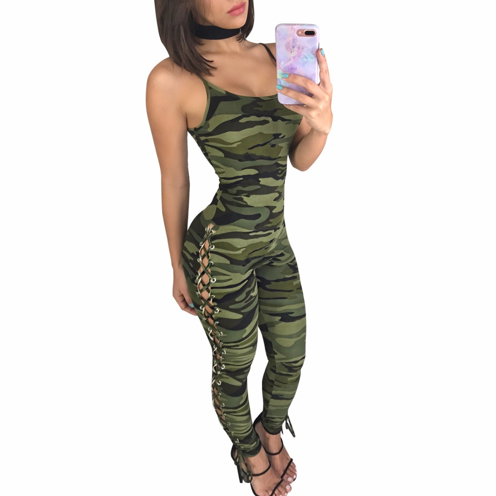 Straps Camouflage Print Side Lace UP Skinny Jumpsuits Overalls 2020 Summer Women Fashion Casual Bodycon Bandage Sexy Rompers