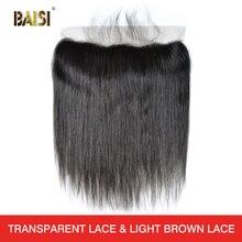 BAISI перуанские девственные волосы швейцарские прозрачные кружевные фронтальные прямые средней длины коричневые с сеткой Фронтальные 13x4 человеческие волосы