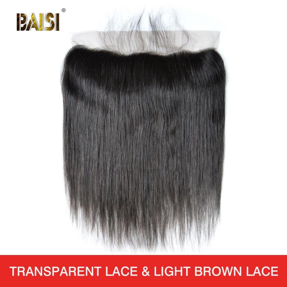 Перуанские натуральные волосы BAISI, швейцарские, прозрачные, прямые, средние, коричневые, фронтальные, 13x4 100% человеческие волосы