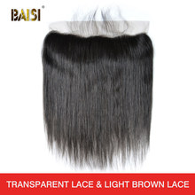 BAISI Peruvian Virgin Hair Swiss Transparent Lace Frontal Straight Medium Brown Lace Frontal 13x4 100% Human Hair(China)