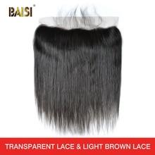 BAISI Peruvian Virgin Hairสวิสลูกไม้ด้านหน้าตรงกลางสีน้ำตาลลูกไม้หน้าผาก 13X4 100% Human Hair