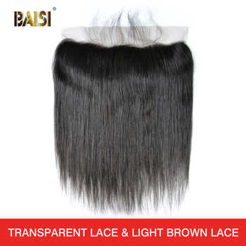 BAISI Peruvian Virgin Hair Swiss Transparent Lace Frontal Straight Medium Brown Lace Frontal 13x4 100% Human Hair - DISCOUNT ITEM  61% OFF Hair Extensions & Wigs