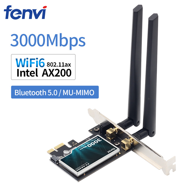 Wifi6 3000Mbps Desktop PCIe WiFi Adapter Intel <font><b>AX200</b></font> Bluetooth 5.0 802.11ax Dual Band 2.4G/5Ghz PCI Express Wireless Card image