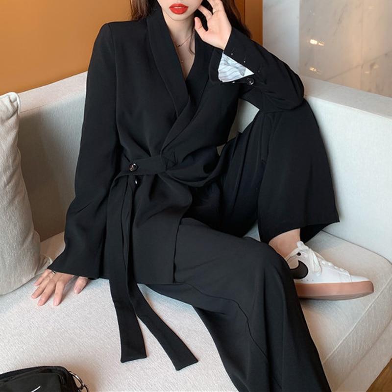 Mozuleva Vintage 2020 Two Pieces Set Women Blazer Set Lace Up Notched Blazer & Loose Pant Women Pant Suits Female Trouser Suit