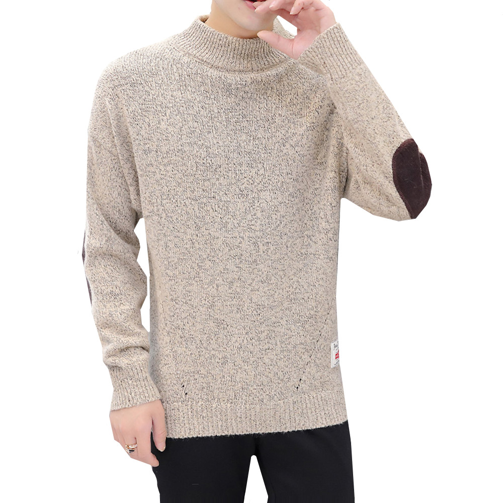 Thick Half Turtleneck Sweater Men 2019 Winter Clothing Casual Warm Knitted Pullover Elbow Spliced High Collar Quality Jumpers