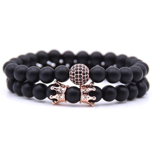 crown pulseras hombre mens jewellery CZ ball bracelet set for men pulseras de mujer jewelry stone beads bracelete armbanden