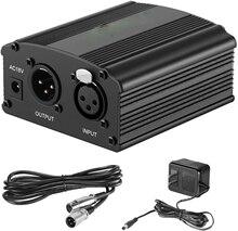 48V Phantom Voeding Met Adapter, bonus + Xlr 3 Pin Microfoon Kabel Voor Elke Condensator Microfoon Muziek Opname Apparatuur