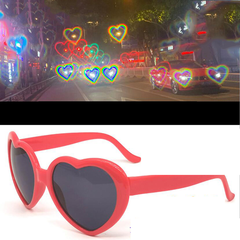 Love Heart Shape Sunglasses Women PC Frame Light Change Love Heart Lens Colorful Sun Glasses Female Red Pink Shades Magic