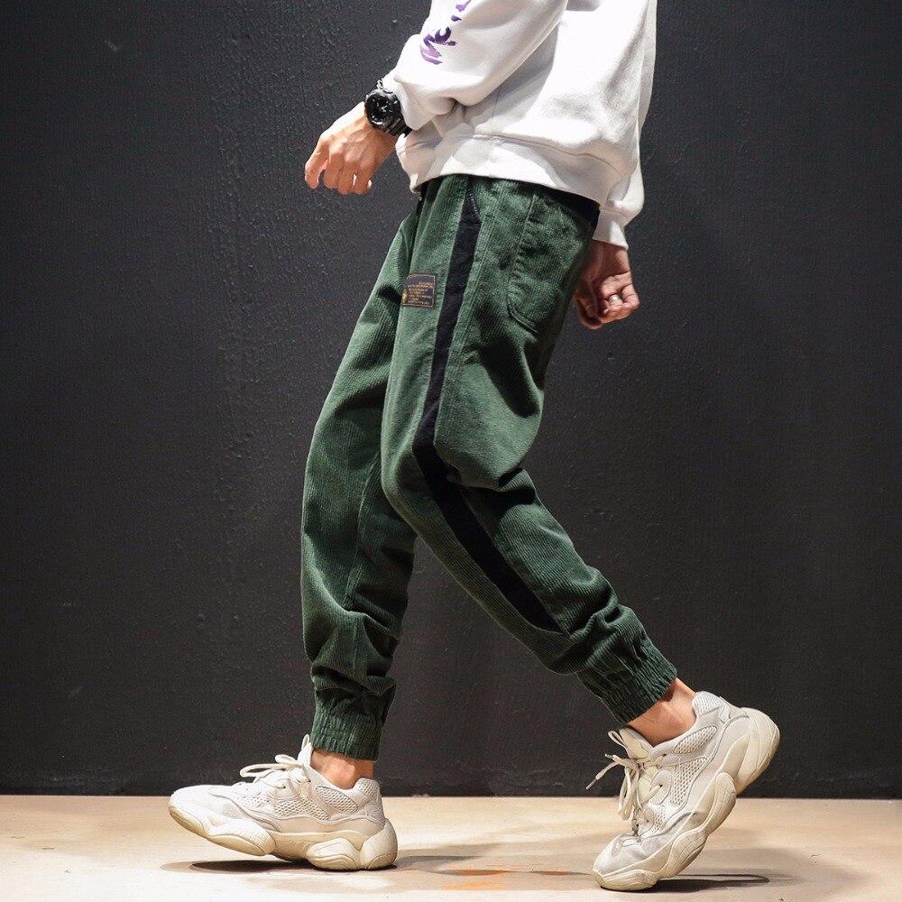 2019 nouveauté mode faisceau fermé les pieds pantalons en velours côtelé hommes taille élastique pantalons décontractés Pantalon Homme 3 couleurs taille M-5xl