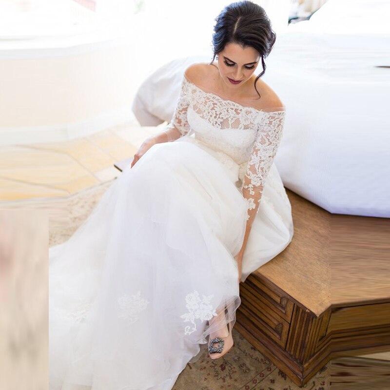 On Sale Graceful Lace Long Sleeve Wedding Dresses for Bride Off Shoulder Bateau Neck Bridal Wedding Gowns Applique Illusion Back