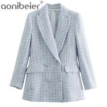Aonibeier-abrigo con Bolsillos y doble botonadura para mujer, ropa de exterior femenina, chaqueta de mujer para oficina, traje urbano, color azul claro, 2021