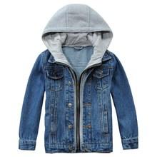 Kids Jean Jacket Spring/Autumn Brand Design Children Hooded Denim Coat For Boys Girls 2-14 Years Outerwear LM074