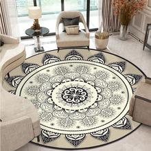 Czeski Mandala okrągły dywan do salonu duża geometryczna etniczna w kwiaty dywaniki do sypialni antypoślizgowa Retro mata podłogowa tanie tanio Zwykły Maszyna wykonana ROUND Domu Wilton Mechanicznej wash Modern GEOMETRIC 100 poliester Retail Round Carpet Kids Room Rug