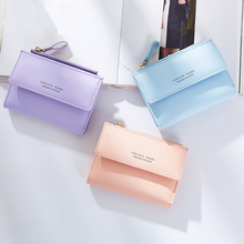 Casual Letter Print Women Wallet High Quality Fold Coin Purse Pu Leather Woman C