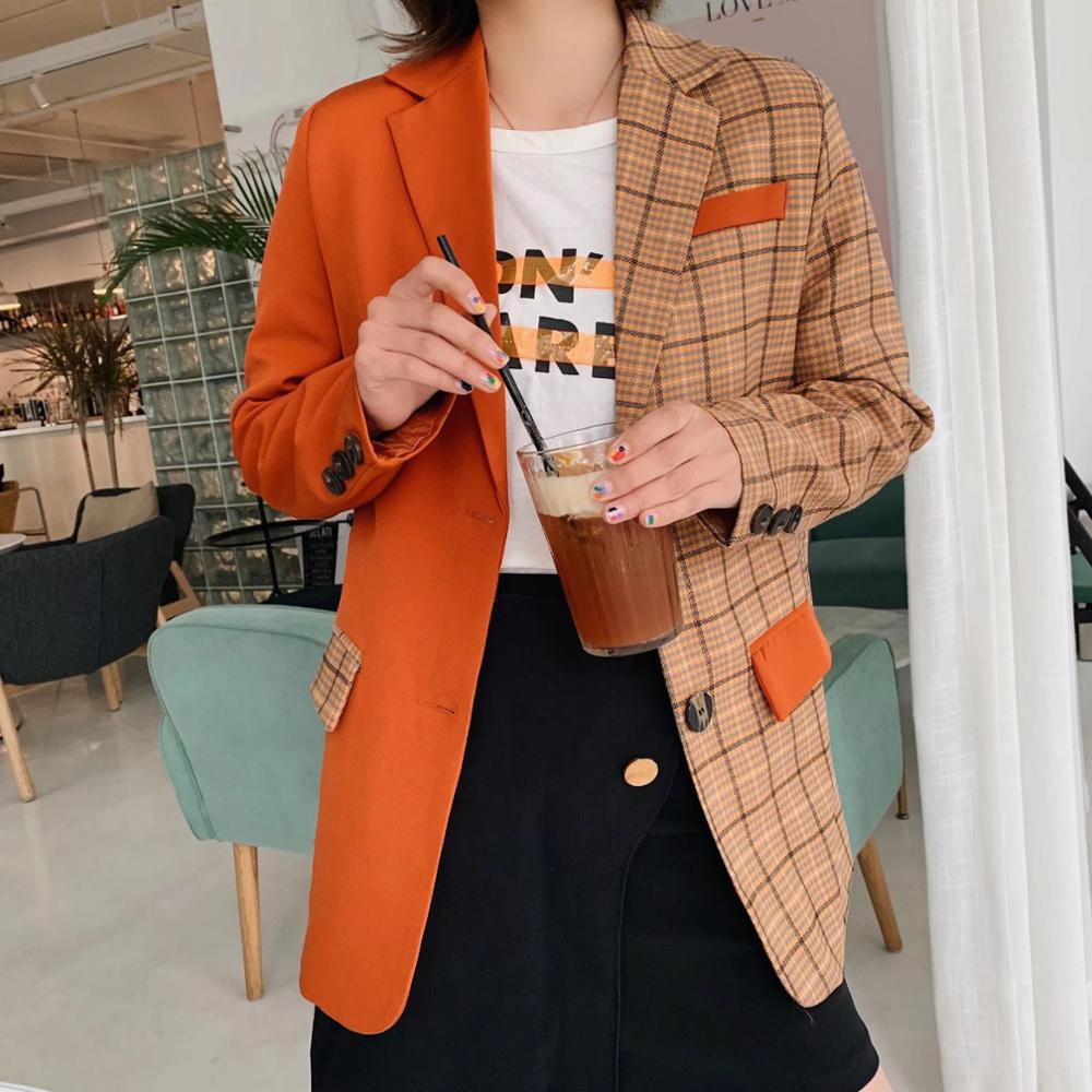 2019 New Spring Orange Stitching Check Gingham Plaid Blazer Boyfriend Friend Style Women Contrast Color Suit Coat Fashion Femme