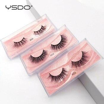 YSDO 1 Pair 3D Mink Eyelashes Fluffy Dramatic Eyelashes Makeup Wispy Mink Lashes Natural Long False Eyelashes Thick Fake Lashes 2
