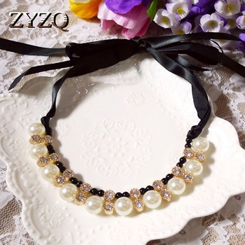 ZYZQ Classic Vintage Mid-Century Necklaces With Full Simulated Pearl Wedding Cocktail Party Women Accessories Necklaces Hot image