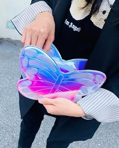 Image 2 - Cute Reflective Laser Butterfly Design Fashion Girls Handbag Shoulder Bag Tote Bag Crossbody Bag Women Casual Clutch Bag Bolsa