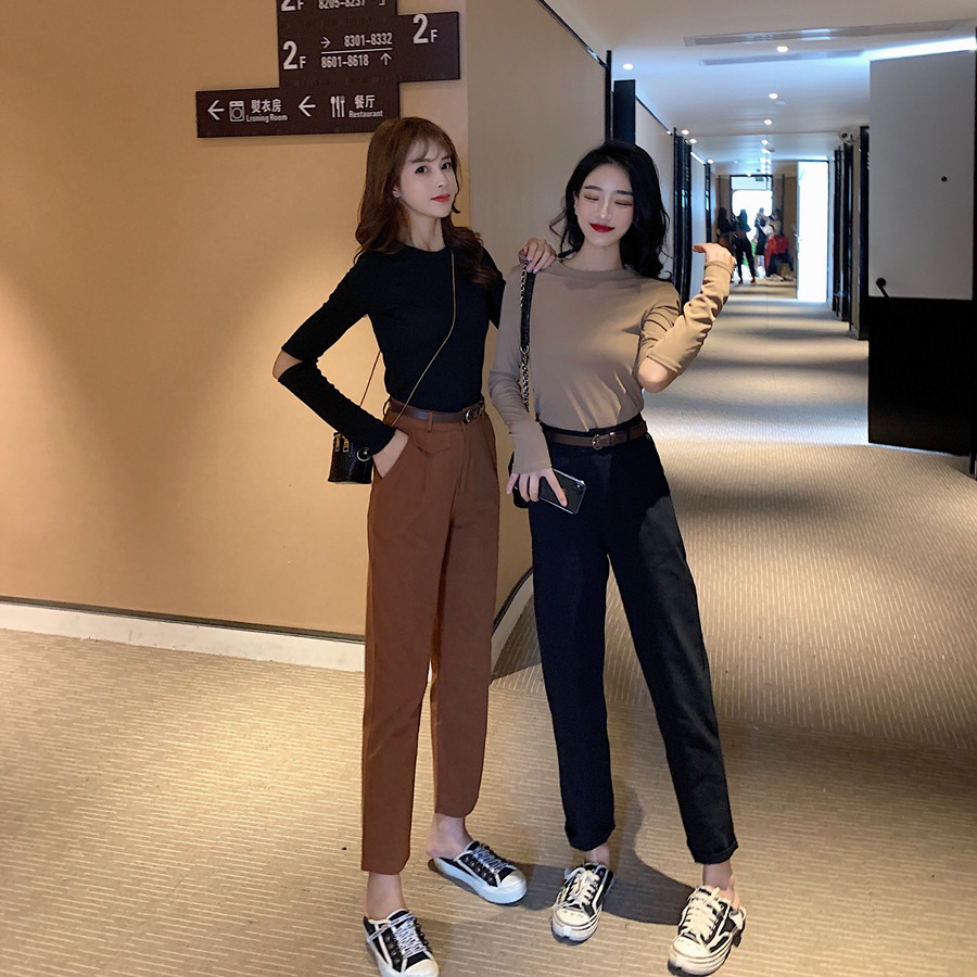 With Holes Long Sleeve Knitted T-shirt WOMEN'S Suit Early Autumn 2019 New Style High-waisted Straight-Cut Simple Casual Pants Tw
