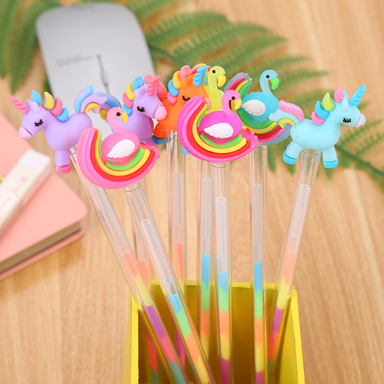 Unicorn Flamingo Gel Pens Cute Colorful Ink Signature Drawing Pen Highlighter Marker Pen School Writing Supplies Stationery Gift