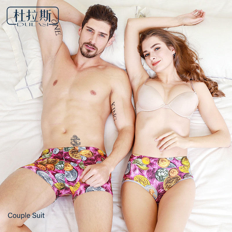 Sexy Print Couple Underwear Men Boxers  Lovers Panties Men Women Boxers DULASI