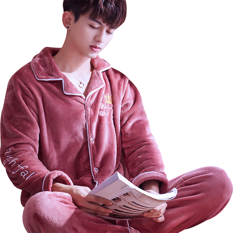 H5885 Sleepwear Men Pajamas Set Male Thickened Flannel Autumn Winter Nightwear Long Sleeve Coral Fleece Large Size Warm Homewear