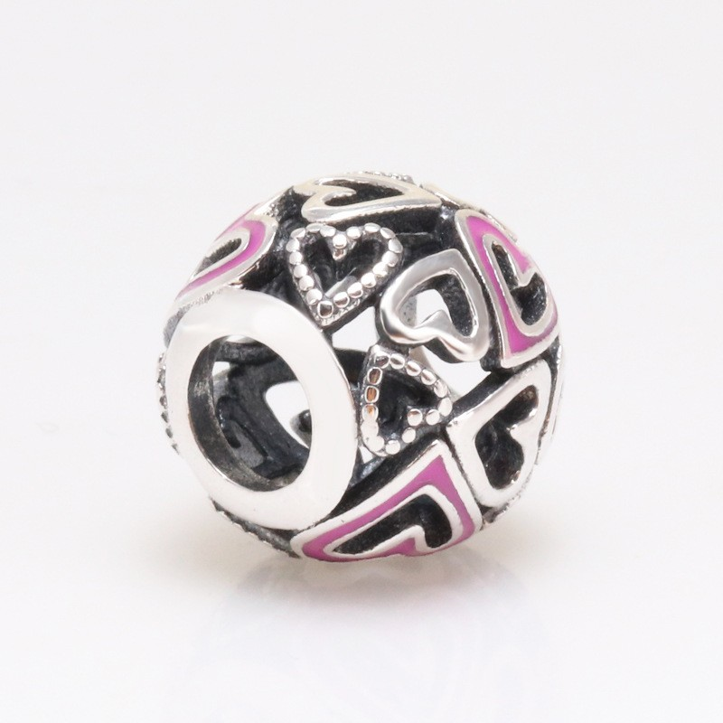 Original 925 Sterling Silver Bead Pink Hollow Love Beads Fit Pandora Women Bracelet & Necklace Diy Jewelry