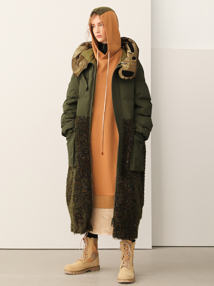 AIGYPTOS Sports Series Design 2019 Winter New Woolen Stitching Hooded Long Down Jacket