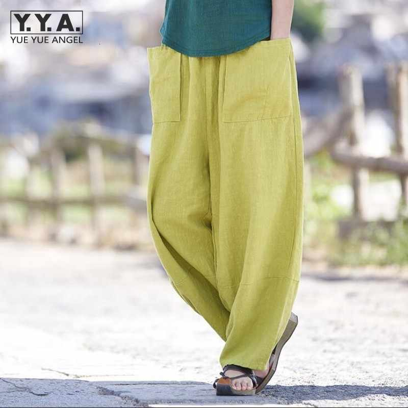 Womens harem pants bloomers baggy linho algodão lazer bolsos calças soltas sólida striaght calças femininas retro calças compridas