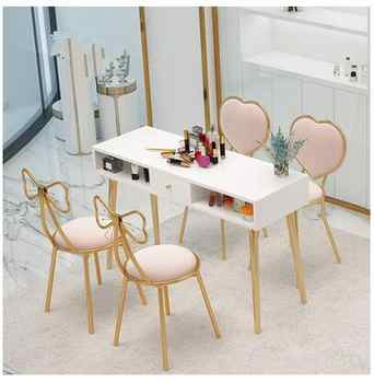 Manicure table and chair set combination Nordic online celebrity single double double manicure table special ins baking white