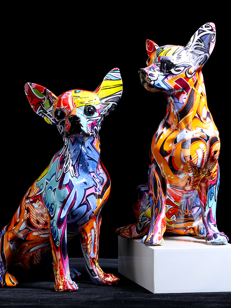 Simple Creative Color Bulldog Chihuahua Dog Statue Living Room Ornaments Home Entrance Wine Cabinet Office Decors Resin Crafts