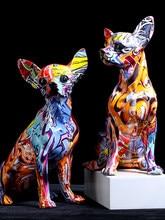 Statue de bouledogue, Chihuahua, couleur Simple et créative, ornements de salon, pour l'entrée de la maison, pour la cave à vin, pour le bureau, artisanat en résine