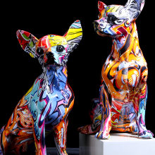 Crafts Decors Wine-Cabinet Living-Room-Ornaments Dog-Statue Color-Bulldog Office Resin