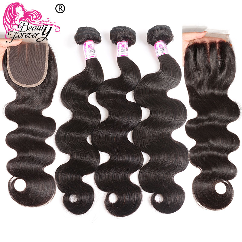 Beauty Forever Body Wave Malaysian Hair 3 Bundles With 2pcs Closures 4*4 Remy Human Hair Weave Extensions