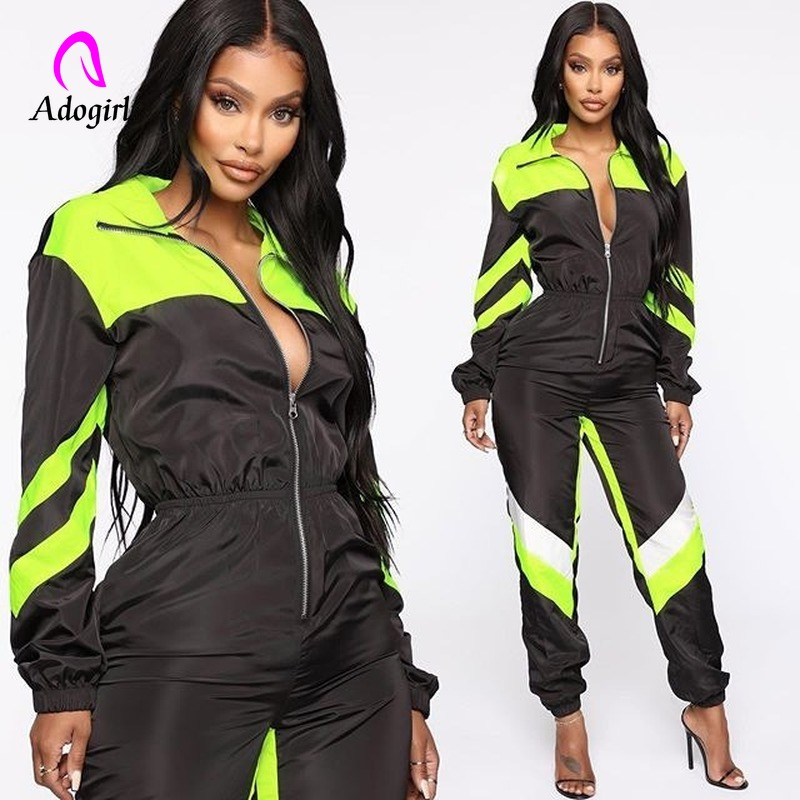 Neon Color Block Tracksuit Loose Jumpsuits Women Zipper  Long Sleeve Rompers Fashion Autumn Fitness One-piece Jumpsuit Overalls