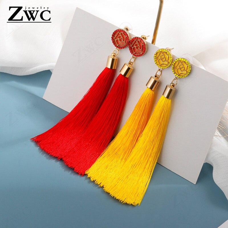 ZWC Fashion Bohemian Tassel Crystal Long Earrings White Red Silk Fabric Drop Dangle Tassel Earrings For Women 2020 Jewelry Gift